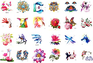 24 sheets temporary tattoo flower dragonfly horse bracelet wrist tattoos
