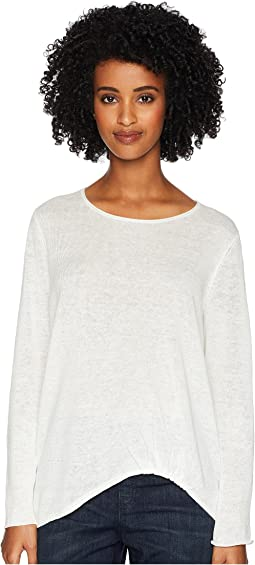 Organic Linen Knit Jewel Neck Twist Front Top