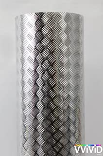 Industrial Utility Diamond Plate Metallic Chrome Finish Vinyl Wrap 17.8 inches x 15ft Sheet Adhesive Roll for Shelves Walls Flooring