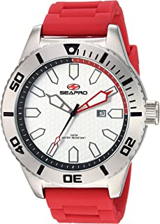Seapro Men's Brigade Stainless Steel Quartz Silicone Strap, red, 21 Casual Watch (Model: SP1314)