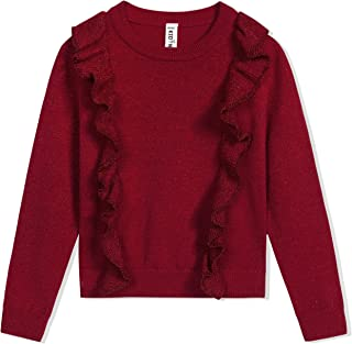 Kid Nation Girls' Sweater Long Sleeve Crew Neck with Ruffles Pullover Cotton Holiday Lurex Sweater
