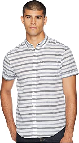 Short Sleeve Textured Lawn Based Striped Shirt