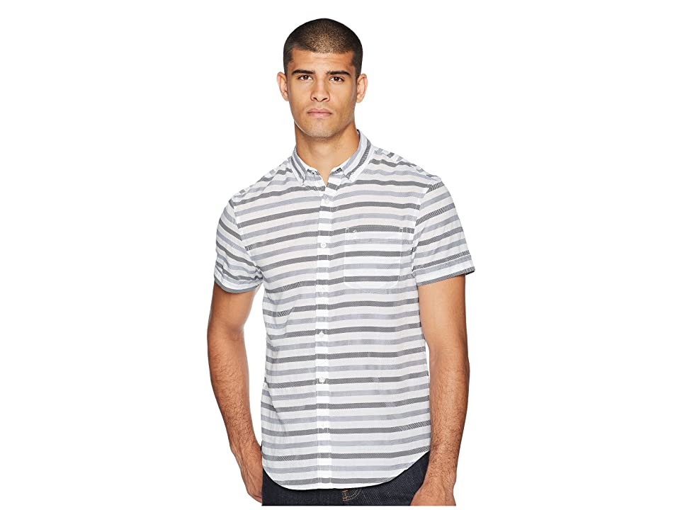 Original Penguin Short Sleeve Textured Lawn Based Striped Shirt (Bright White) Men's Clothing