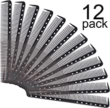 12 Packs Fine Cutting Comb Carbon Hairdressing Comb Heat Resistant Barber Comb for Most..