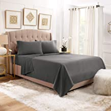 """Empyrean Bedding 14"""" - 16"""" Deep Pocket Fitted Sheet 4 Piece Set - Hotel Luxury Soft Double Brushed Microfiber Top Sheet - Wrinkle Free Fitted Bed Sheet, Flat Sheet and 2 Pillow Cases - Queen, Gray"""