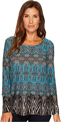Tribal - Long Sleeve Print Scoop Neck Top w/ Open Back Detail