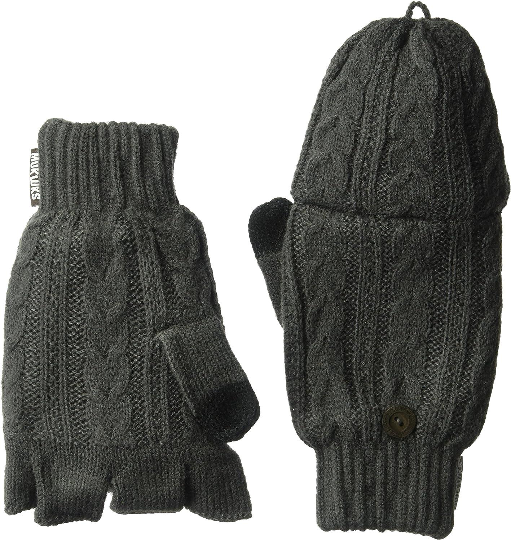 Muk Luks Men's Fingerless Flip Mittens-Grey