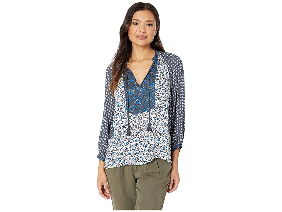 Lucky Brand Border Print Peasant Top (Blue Multi) Women's Long Sleeve Pullover