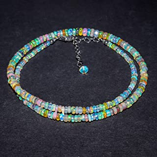 Natural ethiopian black shaded opal smooth beads necklace,4x2mm,fire opal necklace,opal rondelle beads necklace,welo opal necklace:bbs