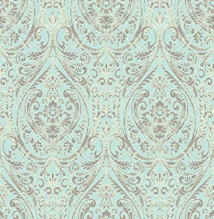 A-Street Prints 1014-001866 Gypsy Damask Wallpaper, Turquoise