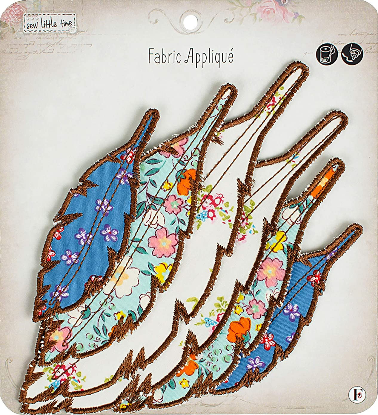 Fabric Editions APLIQFEA Little Time Sew-On Applique, Feathers 6/Pkg cajb3346133