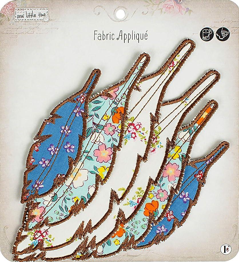Fabric Editions APLIQFEA Little Time Sew-On Applique, Feathers 6/Pkg