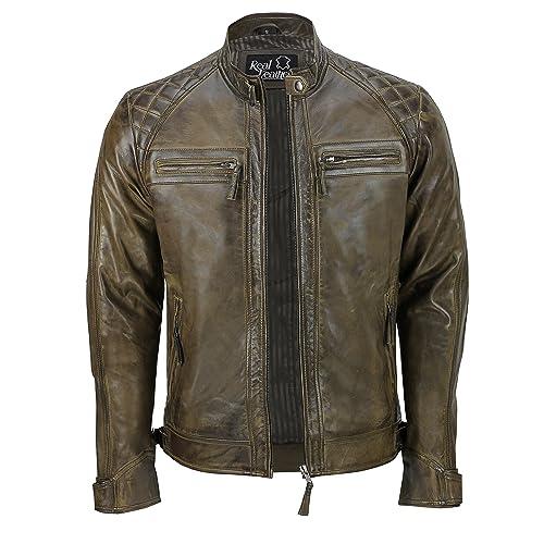 Mens Real Leather Washed Dark Grey Vintage Zipped Smart Casual Biker Jacket bda85f4d9b3