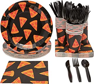 Juvale Pizza Birthday Party Supplies Pack - Serves 24 - Includes Knives, Spoons, Forks, Plates, Napkins, and Cups