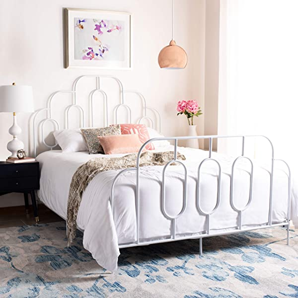 Safavieh BED6201B F Home Collection Paloma White Metal Retro Full Bed