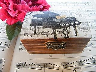Cajita de Madera con Piano, Regalo para Pianista, Joyero, Cajita Almacenamiento, para Profe de Musica, Gran Piano