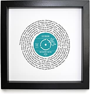 Ellie Goulding How Long Will I Love You Personalised Song - Vinyl Record Print of First Dance or Anniversary Song - fully framed BLACK box 9.5 inch frame