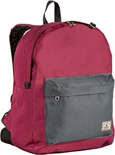 Everest Classic Color Block Backpack, Burgundy/Charcoal, One Size