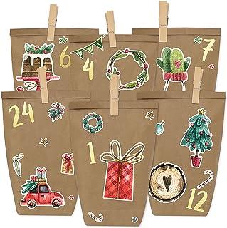 comprar comparacion DIY Calendario de Adviento - Acuarela para Pegar - con 24 Bolsas de Papel para llenar - Navidad y Adviento 2019