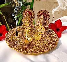 Aluminium Golden Color Plated Laxmi Ganesha Idol with Platter Plate for Puja Diwali Gift Items Deepawali Decorations India...