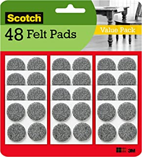 Scotch Brand Heavy Duty Felt Pads, Value Pack, Great for protecting linoleum floors, Round, Gray, 1-Inch Diameter, 8 Pads/...