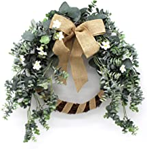 CVHOMEDECO. Primitives 22 Inch Artificial Frosted Eucalyptus Leaves Wreath with Burlap Bow Knot, Thanksgiving Christmas Ne...