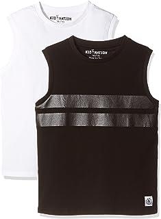 Kid Nation Kids Unisex 2 Packs 100% Cotton Tank Tops Sleeveless Crew Neck Shirts for Boys or Girls 4-12 Years