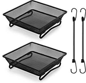 IMPROVWISE Premium 2 Pack Ground Bird Feeder -Heavyduty Weatherproof Mesh Feeding Tray-Attract Wild Birds and Squirrels -for Garden Platform Patio Deck -Complete with stretchable Bungee Cord as anchor