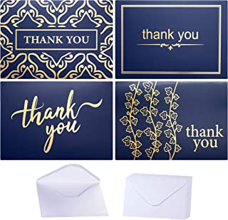 100 Bulk Thank You Cards with Envelopes by Layneria - Gold foil and Navy Blue - 4x6 Inch Blank Thank You Notes with Envelopes Ideal for Wedding Business Funeral Graduation Bridal Gift and Baby Shower