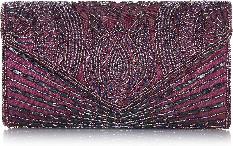 Beatrice Vintage Inspired Hand Embellished Clutch Bag in Plum