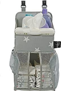 Playard Diaper Caddy and Nursery Organizer for Newborn Baby Essentials, Star Pattern, Grey & White, Baby Accessory Organizer by California Home Goods