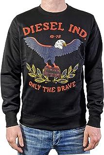 Diesel Men's Sweatshirt with Embroidery and Print S-Joe-Ra Black