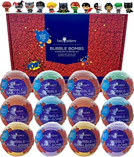 12 Superhero Bubble Bath Bombs for Kids with Surprise Toys Inside by Two Sisters Spa. Large 99% Natural Fizzies in Gift Bo...