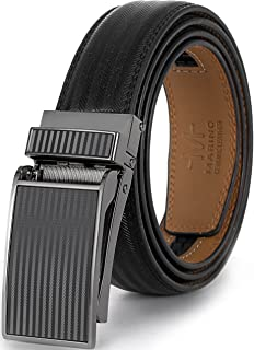 Marino Avenue Men's Genuine Leather Ratchet Dress Belt with Linxx Buckle - Gift Box