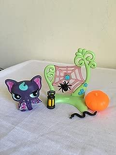 littlest cutest pet shop vampire bat purple aqua eyes LPS custom Halloween accessory set authentic (US seller)