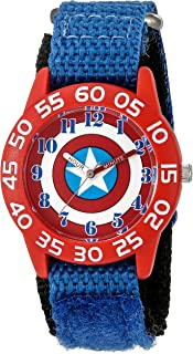 Marvel Boy's 'Captain America' Quartz Plastic and Nylon  Watch, Color:Blue (Model: W003215)