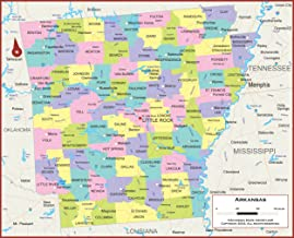 42 x 34 Arkansas State Wall Map Poster with Counties - Classroom Style Map with Durable Lamination - Safe for Use with Wet...