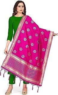 ELINA FASHION Women's Zari Work Indian Pakistani Banarasi Art Silk Woven Only Dupatta for Dress Material & Salwar Suit