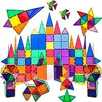 PicassoTiles 100 Piece Set 100pcs Magnet Building Tiles Clear Magnetic 3D Building Blocks Construction Playboards,...