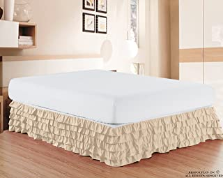Elegant Comfort Luxurious Premium Quality 1500 Thread Count Wrinkle and Fade Resistant Egyptian Quality Microfiber Multi-Ruffle Bed Skirt - 15inch Drop, Full, Cream