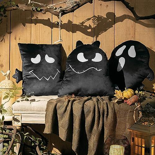popular Phantoscope online Pack of 3 Halloween Ghost Decorative discount Throw Pillows Cute Shaped Kids 3D Print Cushion, Black sale