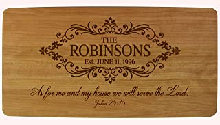 LifeSong Milestones Personalized Wedding Family Name with Established Year Signs Engraved Solid Cherry Cutting Cheese Board Custom Verse As for Me and My House We Will Serve The Lord Joshua 24:15