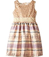 Us Angels - Sequin Aztec Brocade Tank Dress w/ Full Skirt (Little Kids)