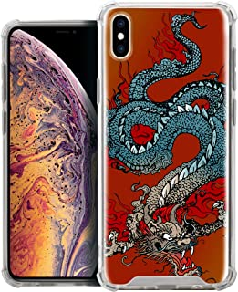 CasesOnDeck Fitted Case Compatible with [Apple iPhone X (2017) / iPhone Xs (2018)] Full Body Clear Bumper Case Slim Fitted Unique Cover (Tattoo Dragon)
