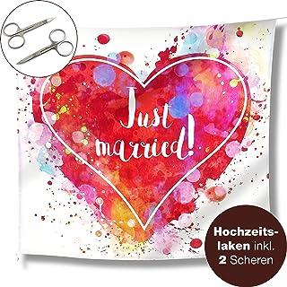 WeddingTree Hochzeitsherz zum Ausschneiden und 2 Scheren - Just Married Hochzeitslaken - Spiel für das Brautpaar - Fotomotiv Deko Farbenfroh