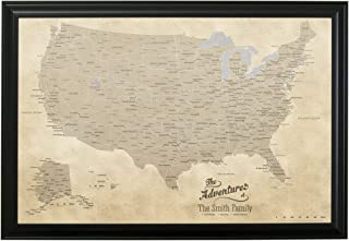 Push Pin Travel Maps Canvas - Personalized Vintage USA with Black Frame