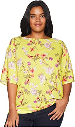 Plus Size Floral Linen-Blend Top