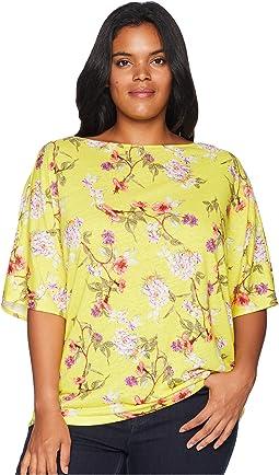 Plus Size Floral Linen-Blend Top