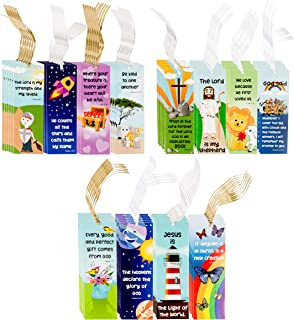 Juvale 72-Pack Religious Christian Scripture Bookmarks for Kids with Bible Verse Quotes, 12 Assorted Designs, 6 x 2 Inches