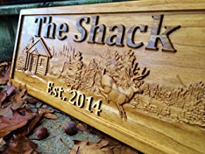 Personalized Cabin Sign Custom Wood Sign Rustic Cabin Decor Personalized Man Cave Sign Established Gift Camper Sign Lake House Sign Cottage Plaque Wooden Wall Décor Deer Home Decor